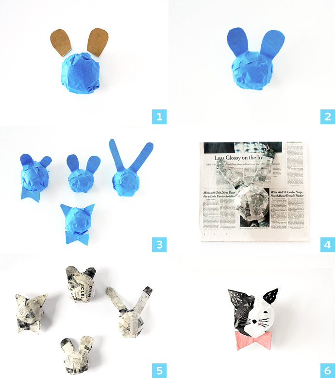 Paper mache animals handmade charlotte for Making paper mache animals