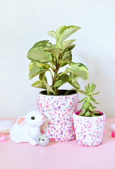 DIY Neon Pebble Planter