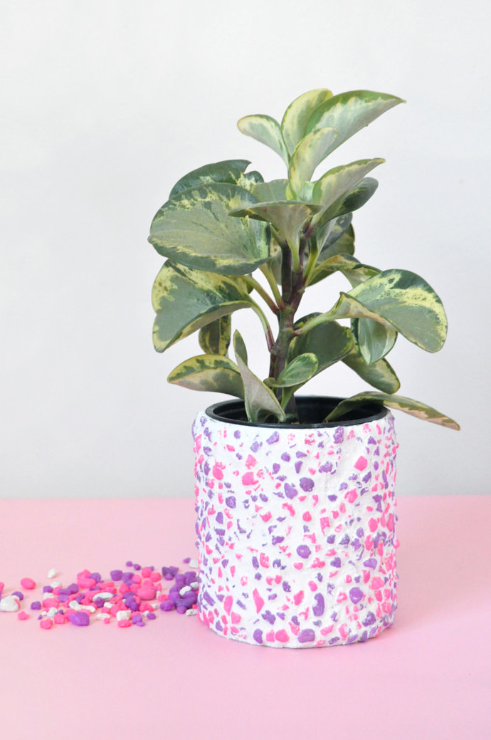 DIY Neon Pebble Planter