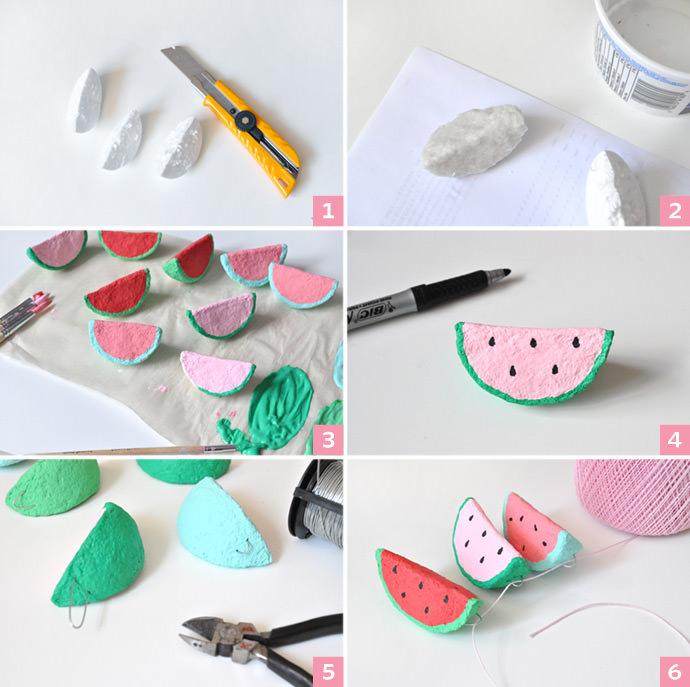 Paper Mache Watermelon Charms   Handmade Charlotte