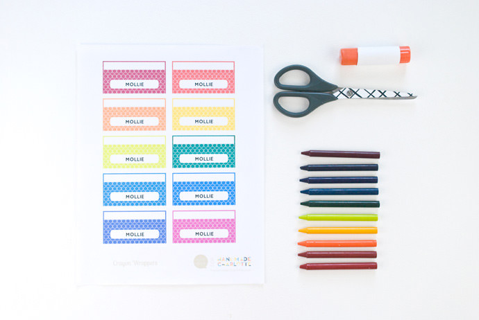 Printable custom crayon wrappers handmade charlotte for Crayon labels template