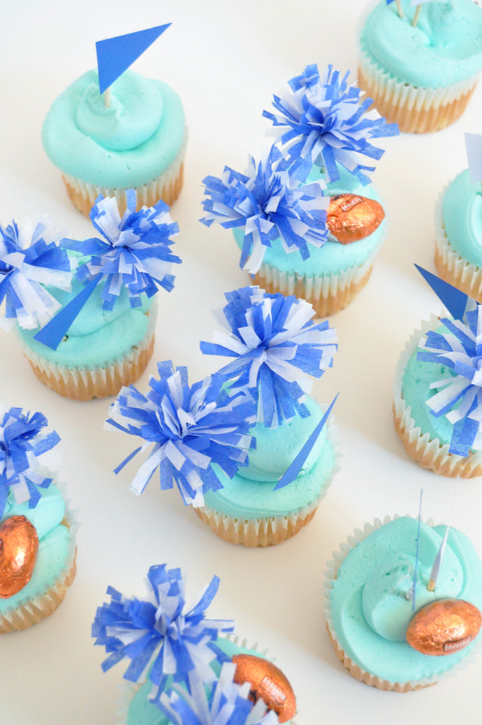 Go Team! DIY Pom Pom Cupcake Toppers