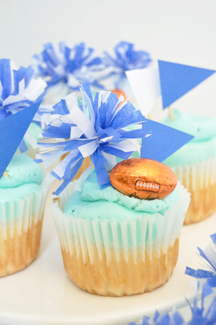 Go Team! DIY Pom Pom Cupcake Toppers