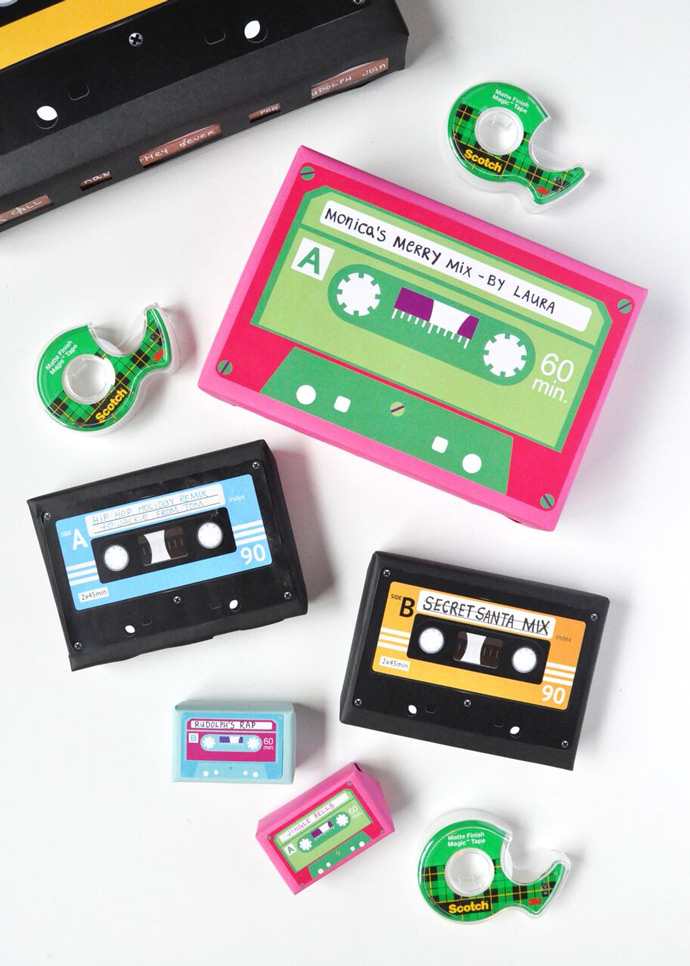 diy cassette tape gift wrap handmade charlotte. Black Bedroom Furniture Sets. Home Design Ideas