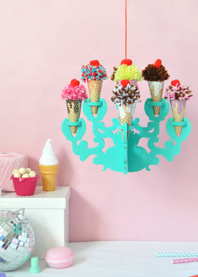 DIY Ice Cream Chandelier