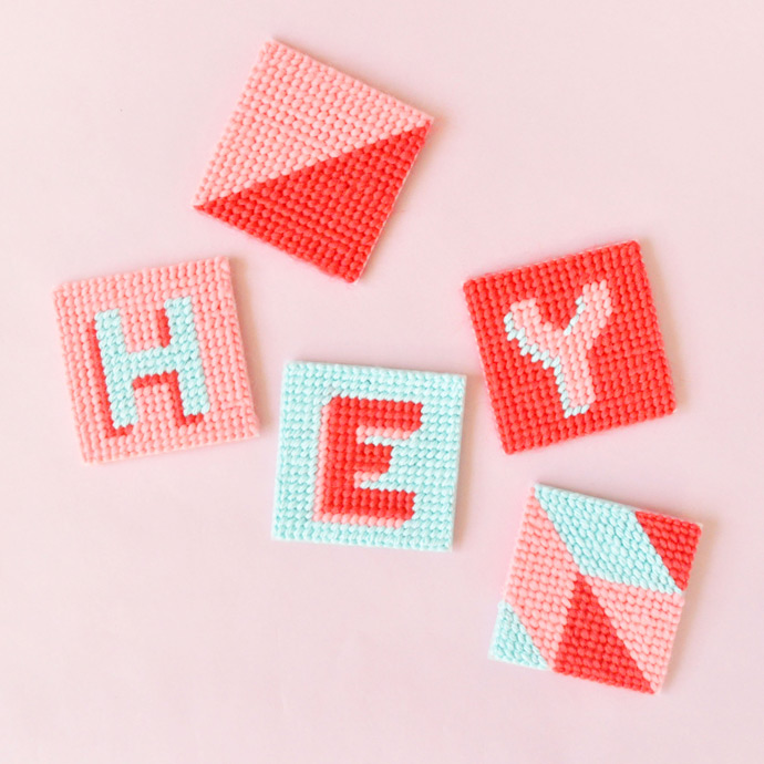 DIY Yarn Cross Stitch Tags