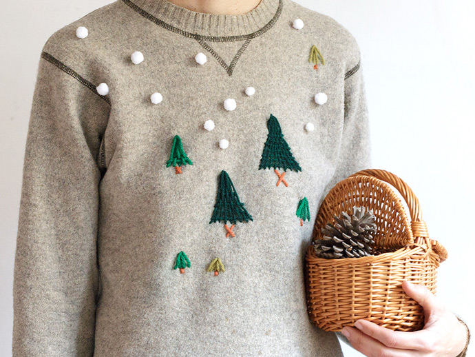 DIY Winter Woods Embroidered Pullover ...