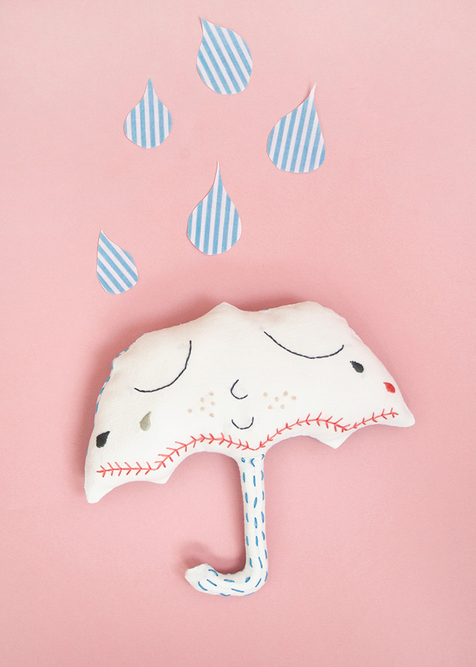 Embroidered Umbrella Pillow