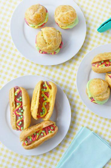 Hot Dog Eclairs and Hamburger Cream Puffs