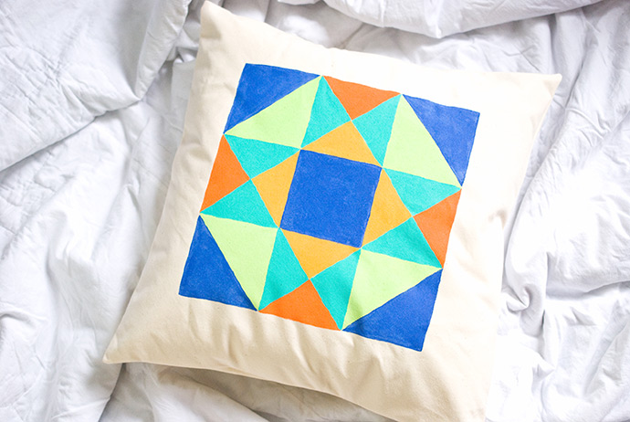 Painted Quilt Block Pillows