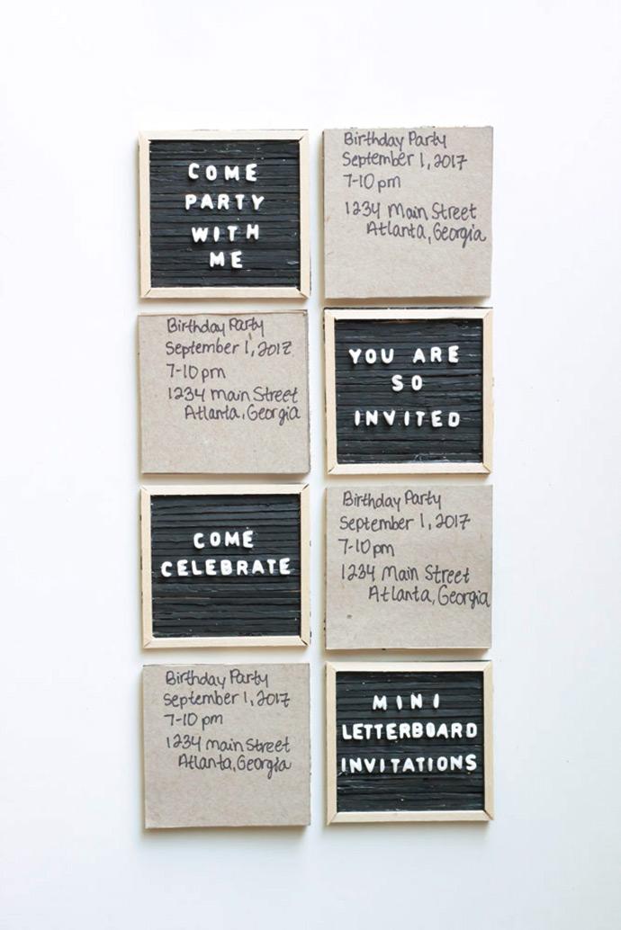 Mini Letter Board Invitations Handmade Charlotte