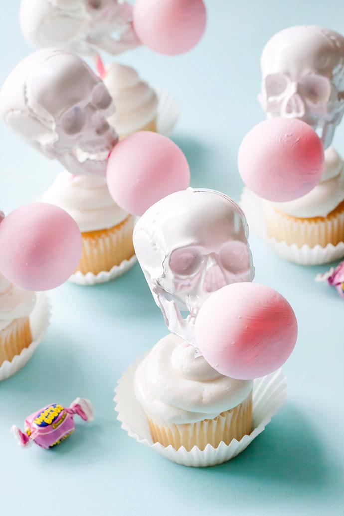 Bubblegum Skull Cupcake Toppers | Handmade Charlotte