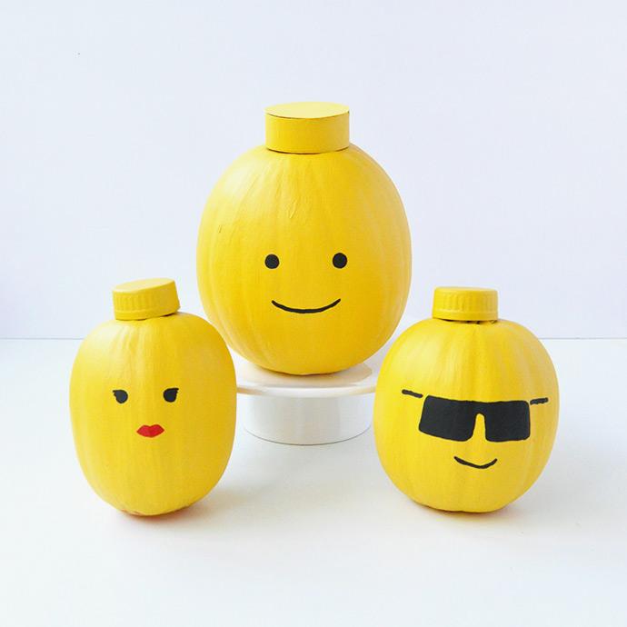 Painted Pumpkin LEGO Heads