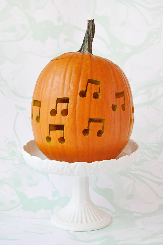 DIY Music Note Drilled Pumpkins