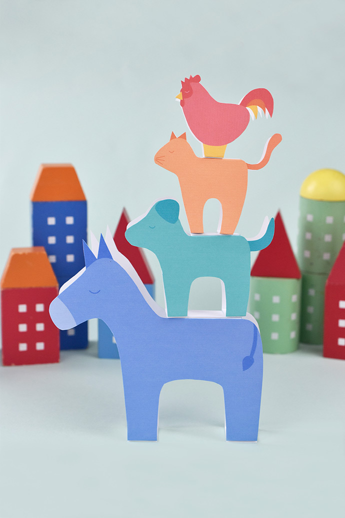 Printable Bremen Town Musicians Stackers