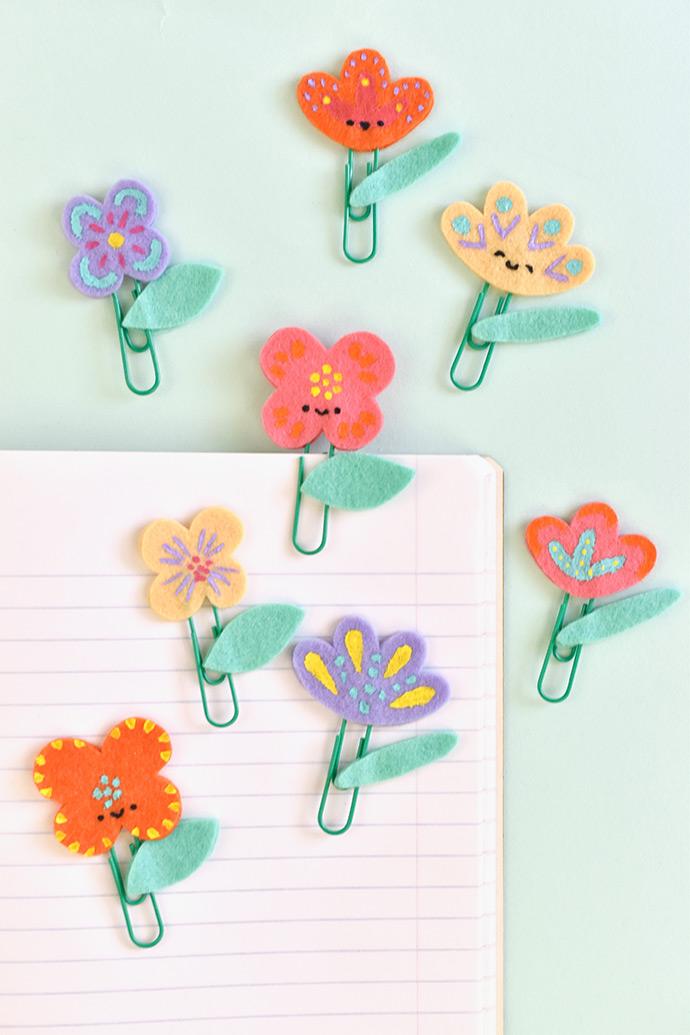 painted felt flower planner clips handmade charlotte