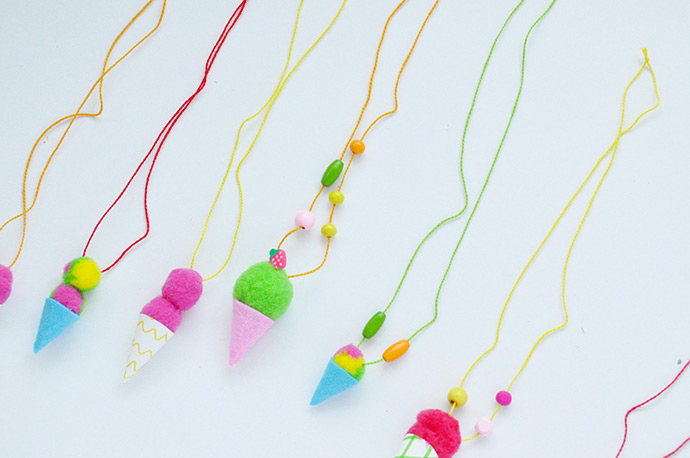 Pom Pom Ice Cream Necklaces