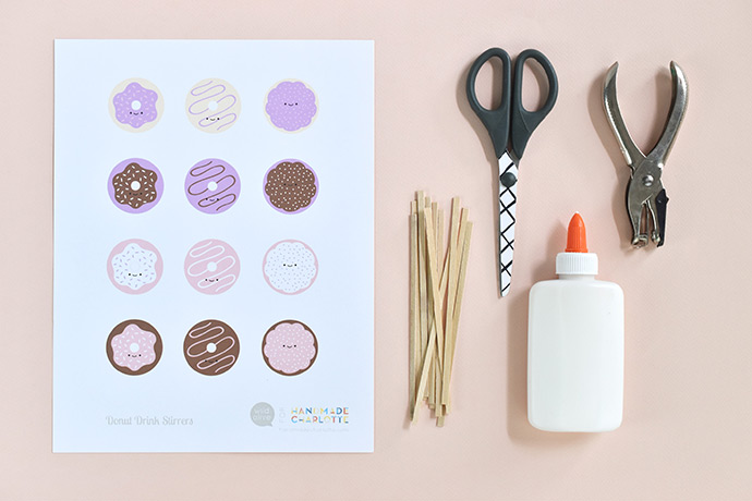 Printable Donut Drink Stirrers