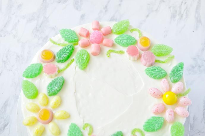 Gummy Candy Floral Wreath Cake