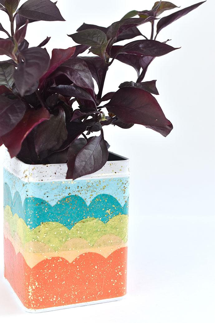 Mermaid Scales Mod Podge Plant Tin