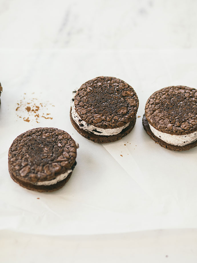 Cookies & Cream Ice Cream Sandwiches with Butterscotch Magic Shell