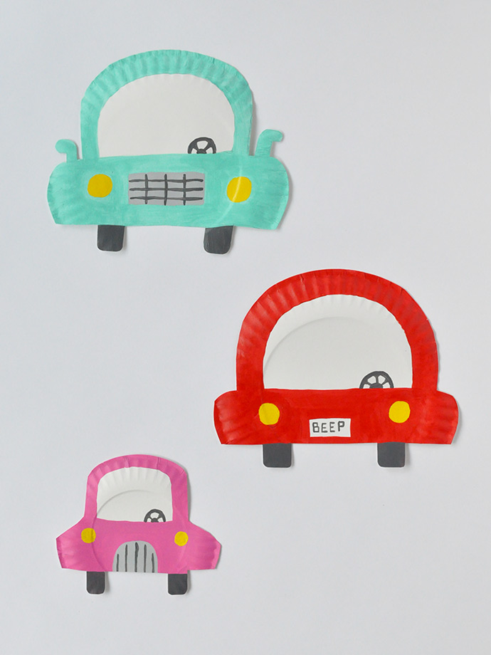 Painted Paper Plates Cars