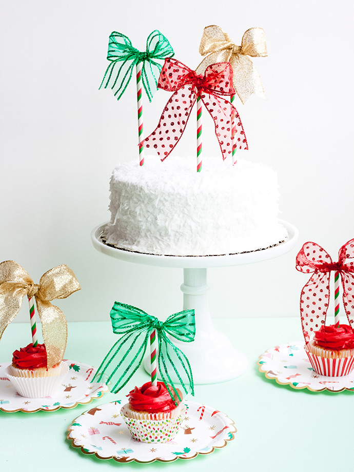 Christmas Bow Cake Topper