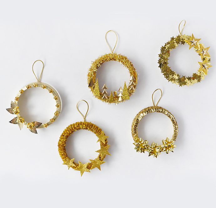 DIY Five Golden Rings Ornaments
