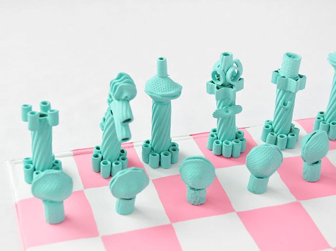DIY Painted Pasta Chess Set