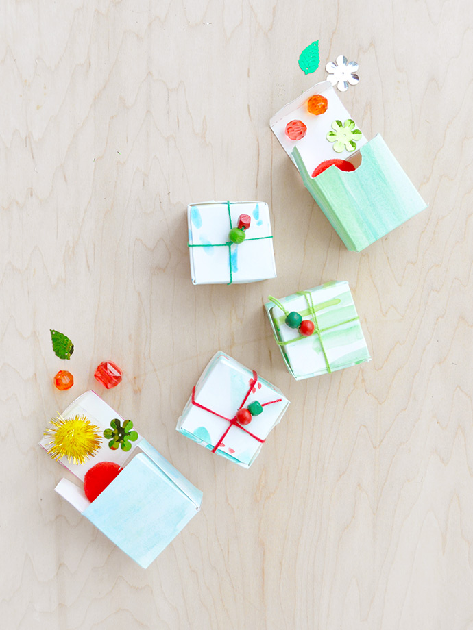 DIY Watercolor Gift Boxes