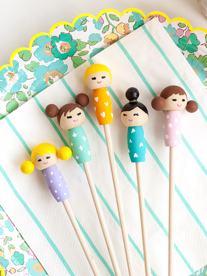 DIY Kokeshi Doll Stir Sticks