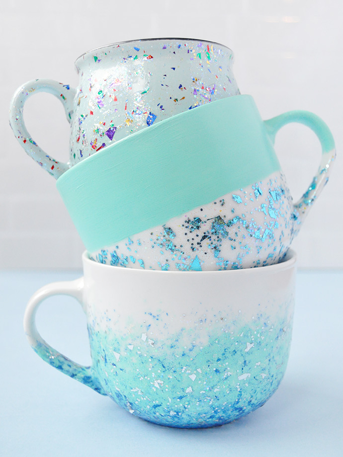 DIY Glitter Speckled Mugs
