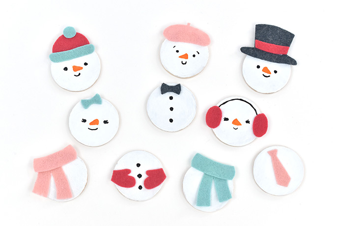 Mix 'n' Match Snowman Magnets