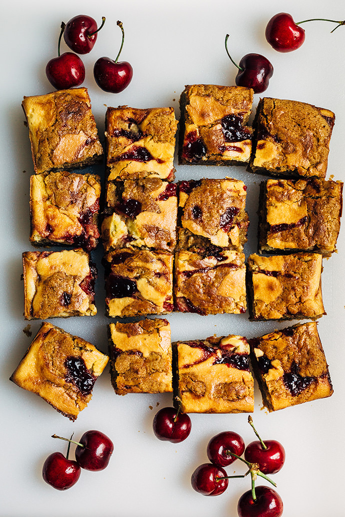 Cream Cheese and Cherry Swirl Blondies