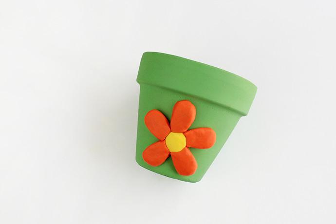 DIY Colorful Clay Planters