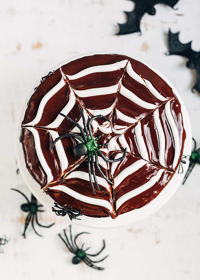 Chocolate Spiderweb Layer Cake