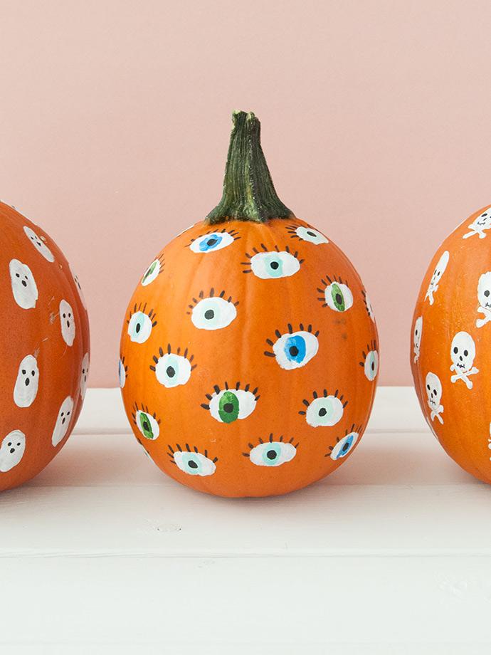 Painted Fingerprint Pumpkins for Kids