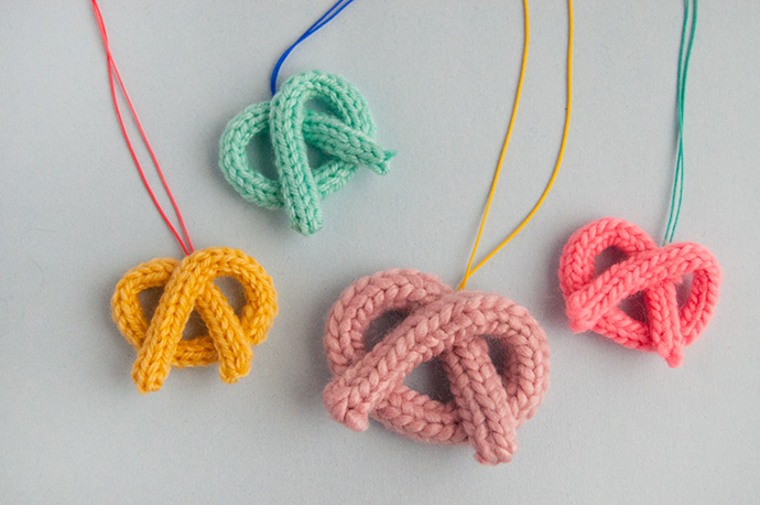 French Knit Pretzel Necklaces