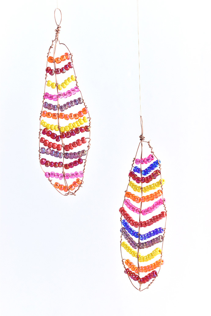 Beaded Fall Feather Suncatchers