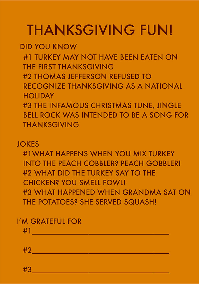 Printable Thanksgiving Fun