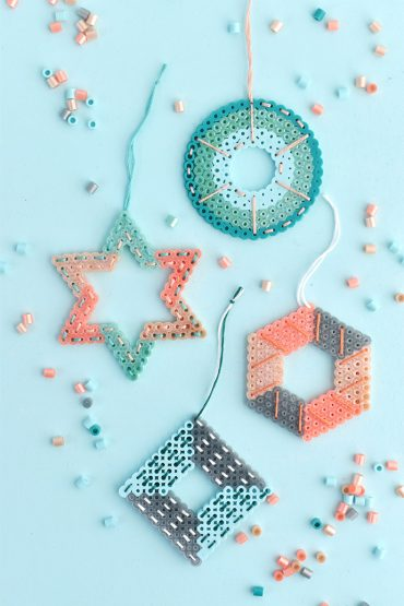 Stitched Perler Bead Ornaments