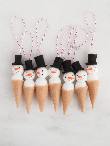 Snowman Ice Cream Cone Ornament