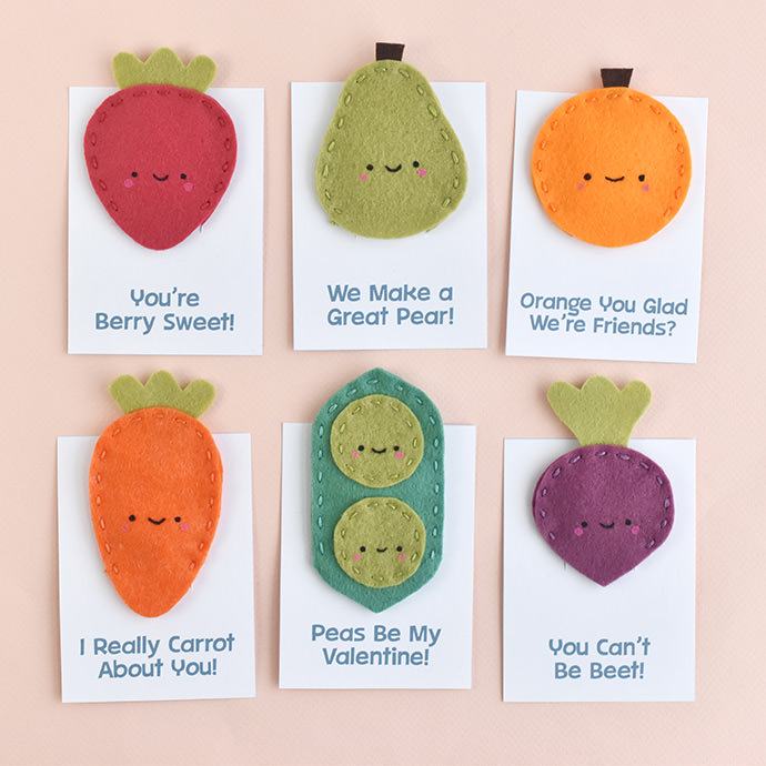 Fruit and Veggie Finger Puppet Valentines