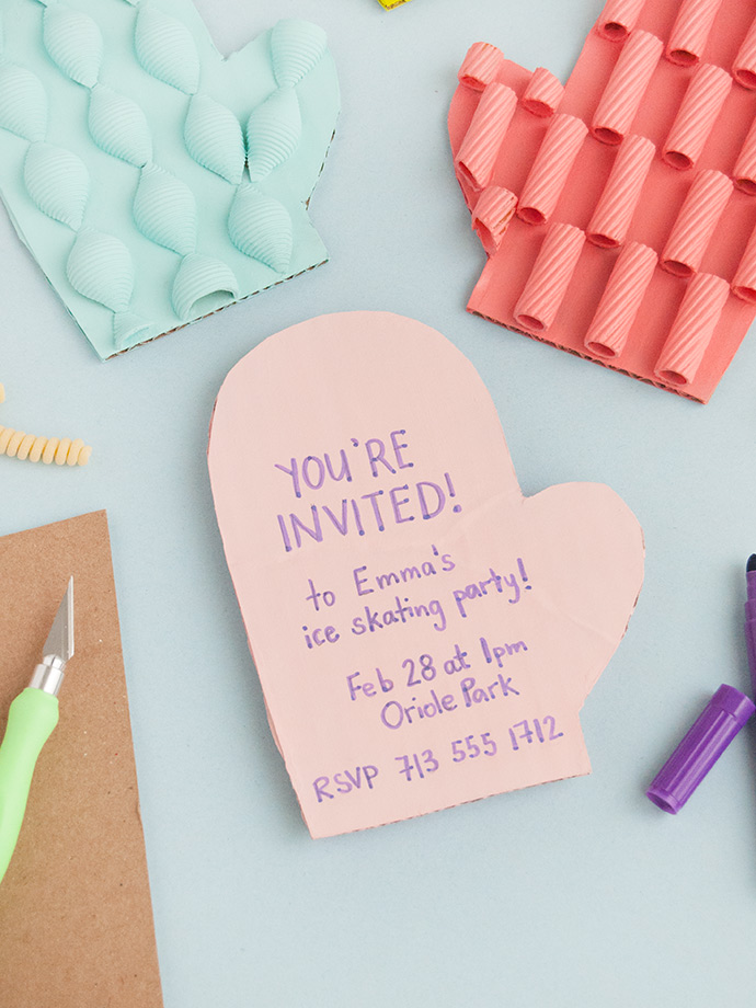 Painted Pasta Mitten Invitations