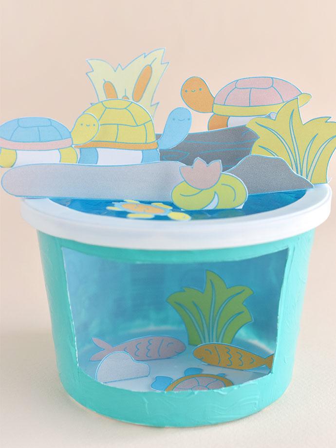 Printable Turtle Pond Diorama Playset