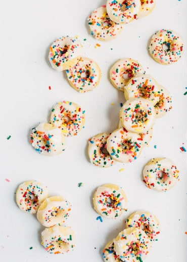 Baked Vanilla Cake Donuts with Sprinkles